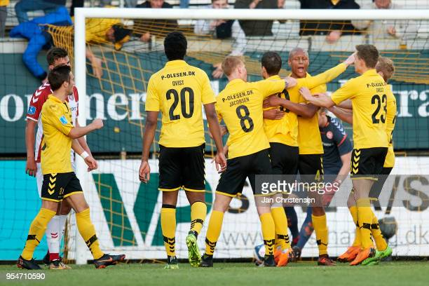 The players of AC Horsens celebrate the 21 goal from Kjartan Finnbogason during the Danish Alka Superliga match between AC Horsens and AaB Aalborg at...