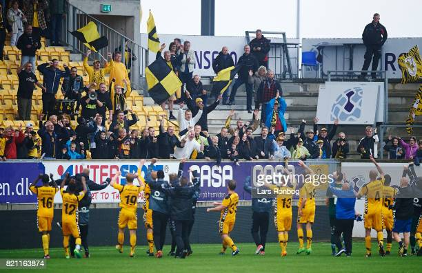 The players of AC Horsens celebrate with the fans after the Danish Alka Superliga match between AC Horsens and Lyngby BK at CASA Arena on July 23...