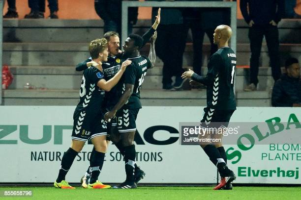 The players of AC Horsens celebrating the 01 goal from Kjartan Finnbogason during the Danish Alka Superliga match between Randers FC and AC Horsens...