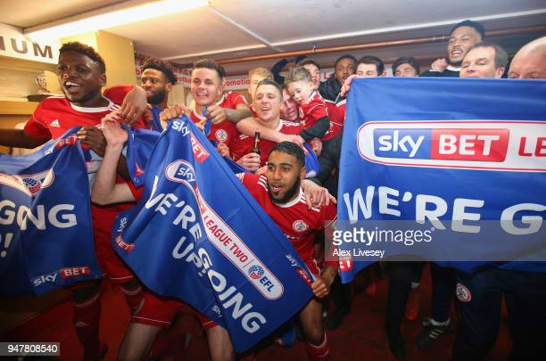 The players of Accrington Stanley celebrate gaining promotion after the Sky Bet League Two match between Accrington Stanley and Yeovil Town at The...
