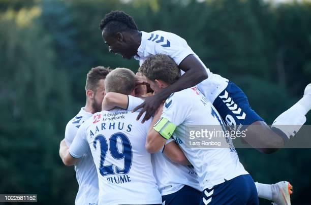 The players of AGF Aarhus celebrate after the goal scored by Mustafa Amini during the Danish Superliga match between Hobro IK and AGF Aarhus at DS...