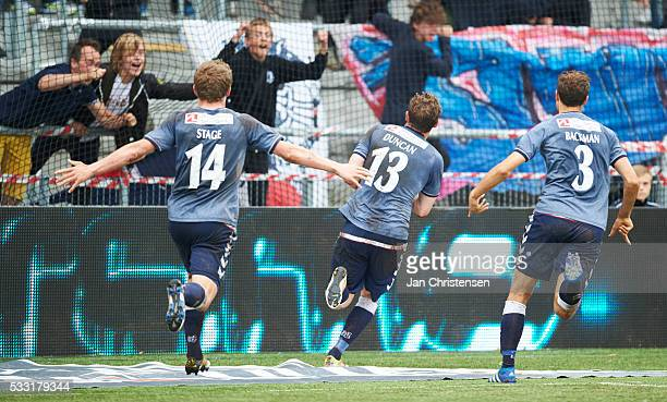 The players of AGF Arhus celebrate the 33 goal from Morten Rasmussen during the Danish Alka Superliga match between FC Nordsjalland and AGF Arhus at...