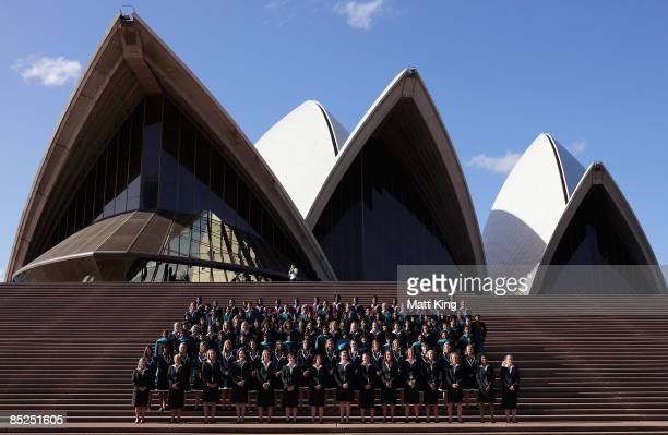 The players of all participating teams pose before the ICC Women's World Cup 2009 welcome ceremony at the Sydney Opera House on March 5 2009 in...