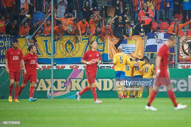 The players of APOEL Nicosia FC celebrating the 01 goal during the UEFA Champions League Qualification match between FC Midtjylland and APOEL Nicosia...
