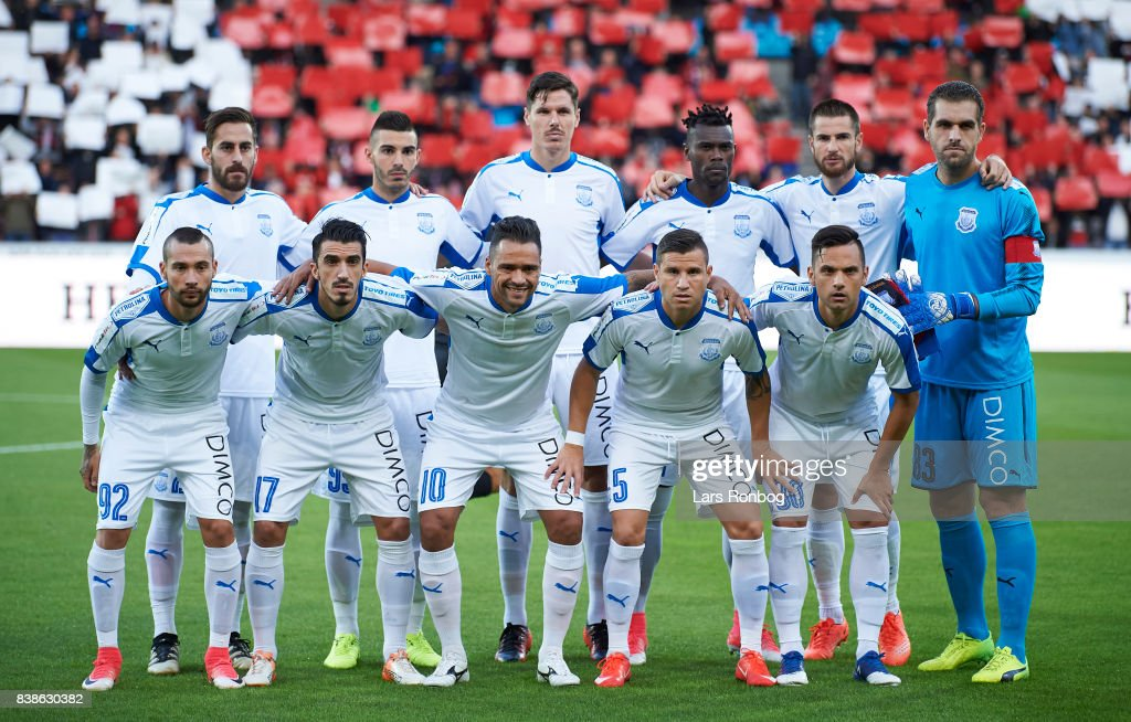 The players of Apollon Limasson pose for a group picture prior to the UEFA Europa League Playoff 2nd Leg match between FC Midtjylland and Apollon Limassol at MCH Arena on August 24, 2017 in Herning, Denmark.