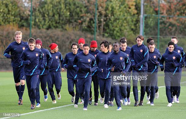 The players of Arsenal during a training session at London Colney on December 5 2011 in St Albans England