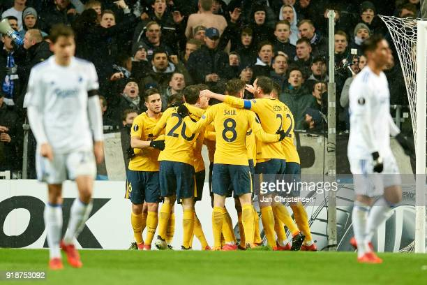 The players of Atletico Madrid celebrate the 12 goal from Kevin Gameiro during the UEFA Europa League match between FC Copenhagen and Atletico Madrid...