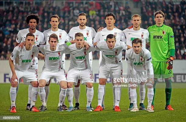 The players of Augsburg pose for a team picture prior to the UEFA Europa League group L football match FC Ausburg vs AZ Alkmaar at WWK Arena on...