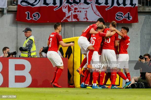 the players of Austria celebrates after scoring the 11 during the international friendly match between Austria and Germany at Woerthersee Stadion on...