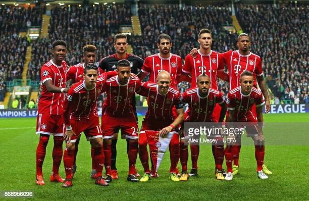 The players of Bayern Muenchen line up prior to the UEFA Champions League group B match between Celtic FC and Bayern Muenchen at Celtic Park on...
