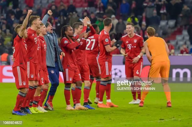 The players of Bayern Munich celebrate the victory after the UEFA Champions League Group E football match Bayern Munich vs Benfica Lisbon in Munich...