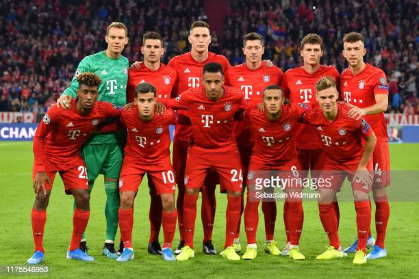 The players of Bayern Munich front row Kingsley Coman Philippe Coutinho Corentin Tolisso Thiago Joshua Kimmich second row goalkeeper Manuel Neuer...