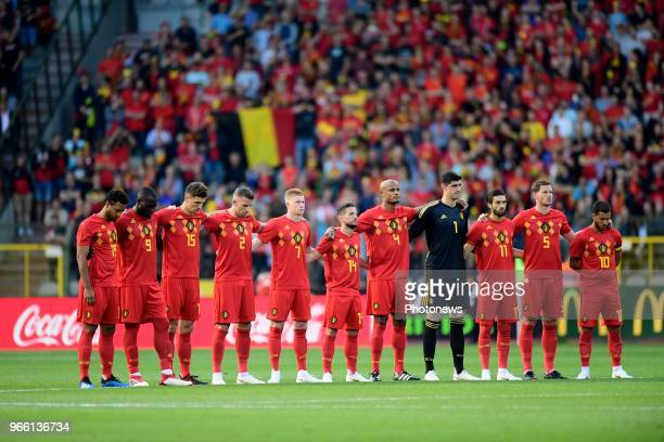 The players of Belgian National football team honoring the victims of the Liege attack with one minute of silence before a FIFA international...
