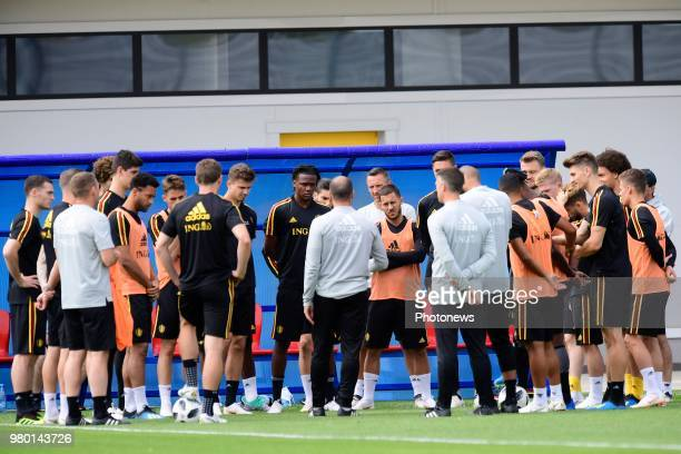 The players of Belgian National football team listening to Roberto Martinez manager of the Belgium national football team during a training session...