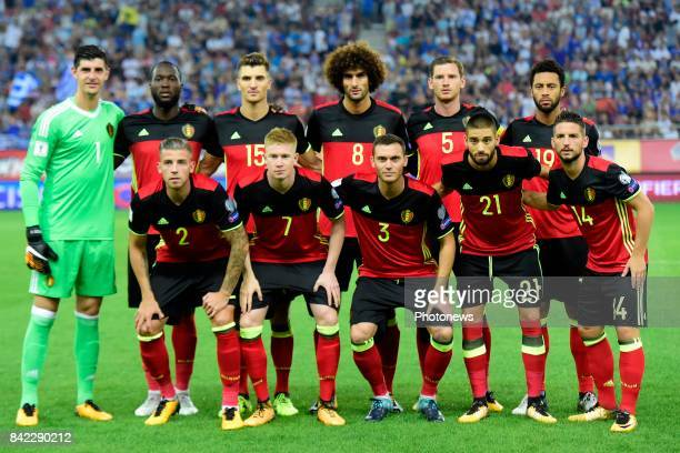 The players of Belgian National football team pictured before the World Cup Qualifier Group H match between Greece and Belgium at the Georgios...