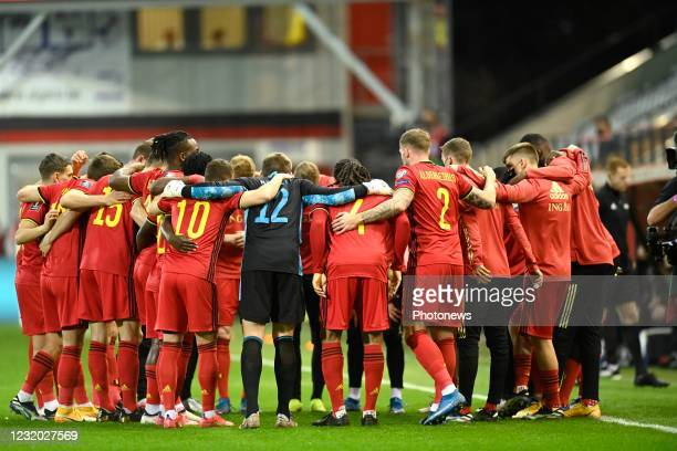 The players of Belgian National football team pictured during the FIFA World Cup Qatar 2022 Qualifiers Round Group E Match between Belgium and...
