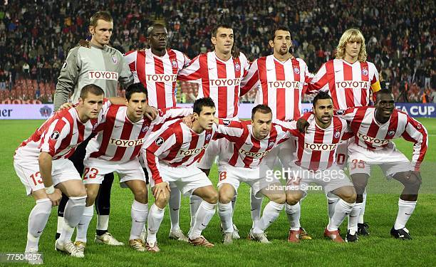 The players of Belgrade pose prior to the UEFA Cup group F match between Crvena Zvezda and Bayern Munich at Crvena Zvezda Stadium on October 25 2007...