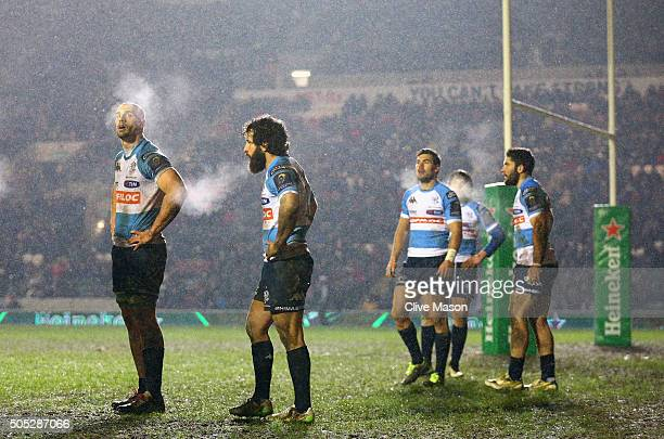 The players of Benetton Treviso look on as the snow falls during the European Rugby Champions Cup match between Leicester Tigers and Benetton Treviso...