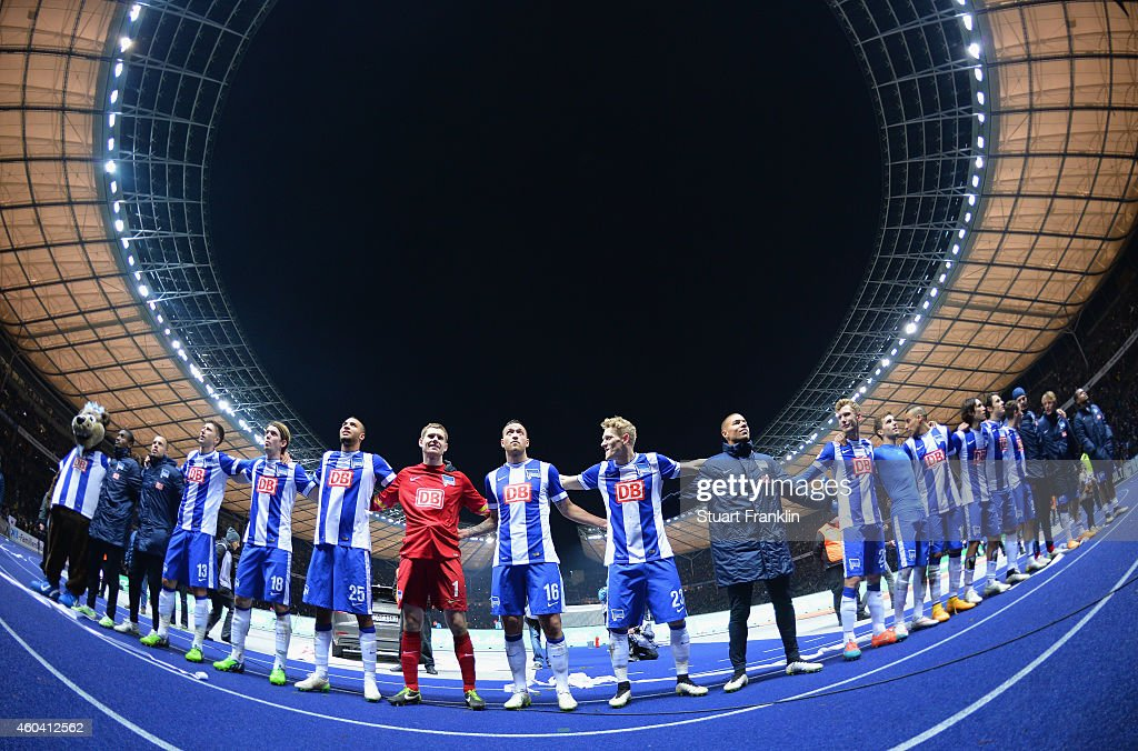 The players of Berlin celebrate at the end of the Bundesliga match between Hertha BSC and Borussia Dortmund at Olympiastadion on December 13, 2014 in Berlin, Germany.