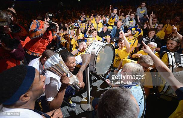 The players of Berlin celebrate with their fans after winning the Beko BBLTop Four final game between Ratiopharm Ulm and Alba Berlin at O2 World on...