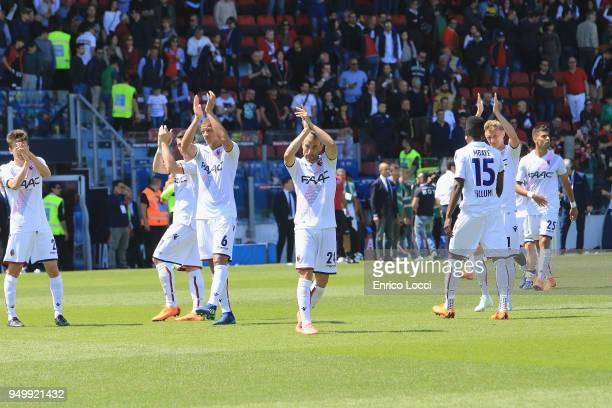 the players of Bologna at the end of the serie A match between Cagliari Calcio and Bologna FC at Stadio Sant'Elia on April 22 2018 in Cagliari Italy