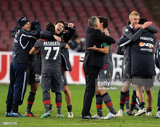 The players of Bologna celebrate victory after the TIM Cup SSC Napoli and Bologna FC at Stadio San Paolo on December 19 2012 in Naples Italy