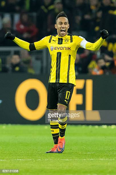 The players of Borussia Dortmund celebrate their win after the Bandesliga soccer match between BV Borussia Dortmund and FC Bayern Muenchen at the...