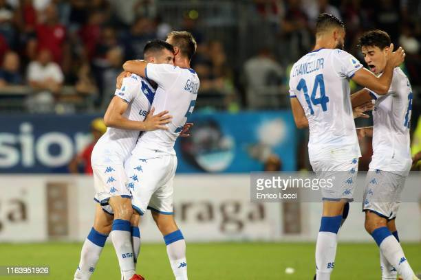 The players of Brescia celebrates the winning goal at the end of the Serie A match between Cagliari Calcio and Brescia Calcio at Sardegna Arena on...