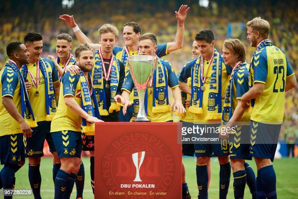 The players of Brondby and the trophy after the Danish Cup Final DBU Pokalen match between Brondby IF and Silkeborg IF at Telia Parken Stadium on May...