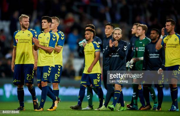 The players of Brondby applaud the fans after the Danish Alka Superliga match between OB Odense and Brondby IF at EWII Park on September 10 2017 in...