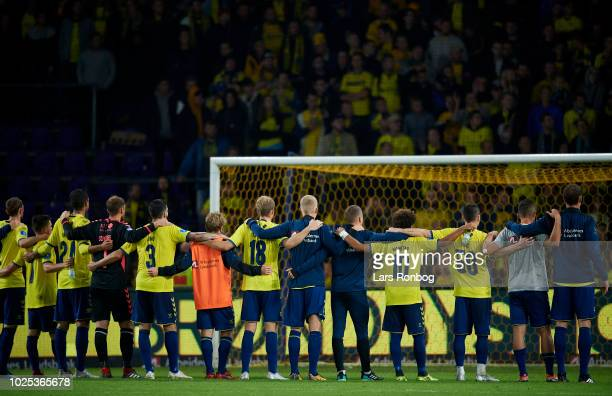 The players of Brondby IF applauds fans after the UEFA Europa League Playoff match between Brondby IF and KRC Genk at Brondby Stadion on August 30...