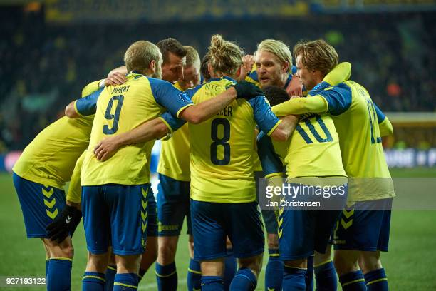 The players of Brondby IF celebrate after the 10 goal from Hany Mukhtar during the Danish Alka Superliga match between Brondby IF and OB Odense at...
