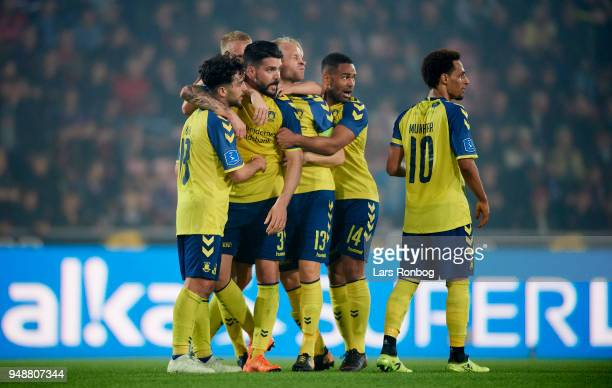 The players of Brondby IF celebrate after the 32 goal scored Anthony Jung of Brondby IF during the Danish Alka Superliga match between FC Midtjylland...
