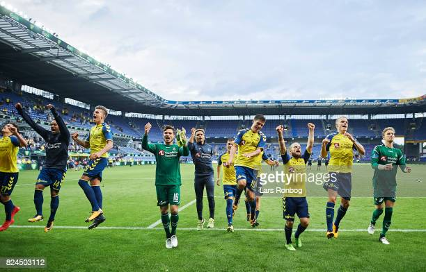 The players of Brondby IF celebrate after the Danish Alka Superliga match between Brondby IF and Lyngby BK at Brondby Stadion on July 30 2017 in...