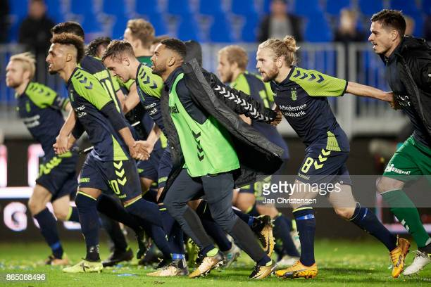 The players of Brondby IF celebrate after the Danish Alka Superliga match between FC Helsingor and Brondby IF at Helsingor Stadion on October 22 2017...