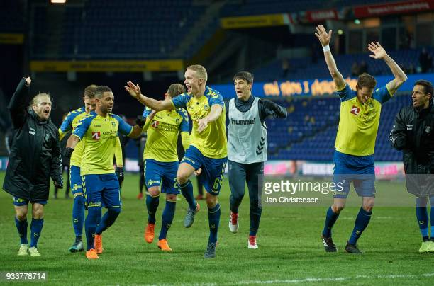 The players of Brondby IF celebrate after the Danish Alka Superliga match between Brondby IF and Hobro IK at Brondby Stadion on March 18 2018 in...