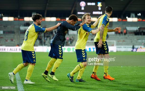 The players of Brondby IF celebrate after the Danish Alka Superliga match between FC Midtjylland and Brondby IF at MCH Arena on April 19 2018 in...