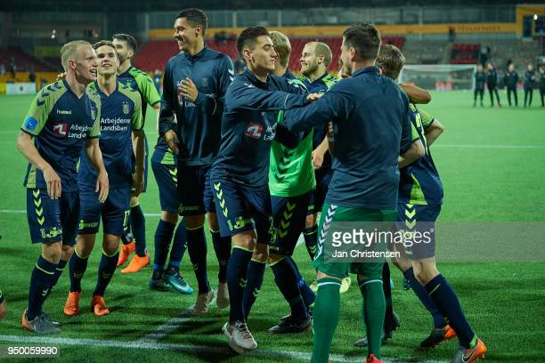 The players of Brondby IF celebrate after the Danish Alka Superliga match between FC Nordsjalland and Brondby IF at Right to Dream Park on April 22...