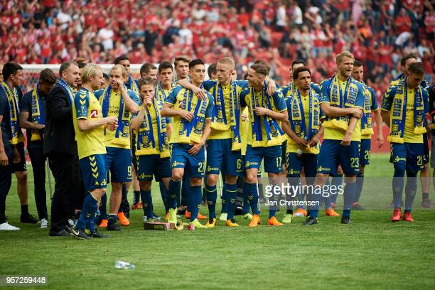 The players of Brondby IF celebrate after the Danish Cup Final DBU Pokalen match between Brondby IF and Silkeborg IF at Telia Parken Stadium on May...