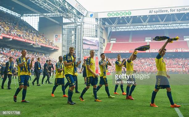 The players of Brondby IF celebrate after the Danish DBU Pokalen Cup Final match between Brondby IF and Silkeborg IF at Telia Parken Stadium on May...