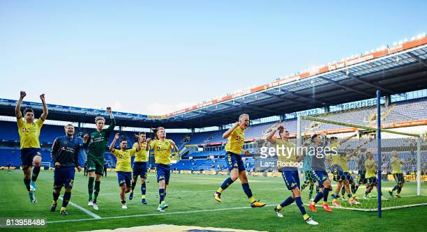 The players of Brondby IF celebrate after the UEFA Europa League Qualification match between Brondby IF and VPS Vaasa at Brondby Stadion on July 13...