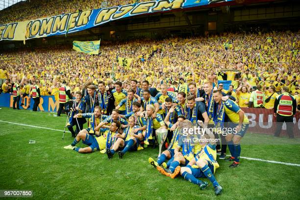 The players of Brondby IF celebrate in from of their fans after the Danish Cup Final DBU Pokalen match between Brondby IF and Silkeborg IF at Telia...