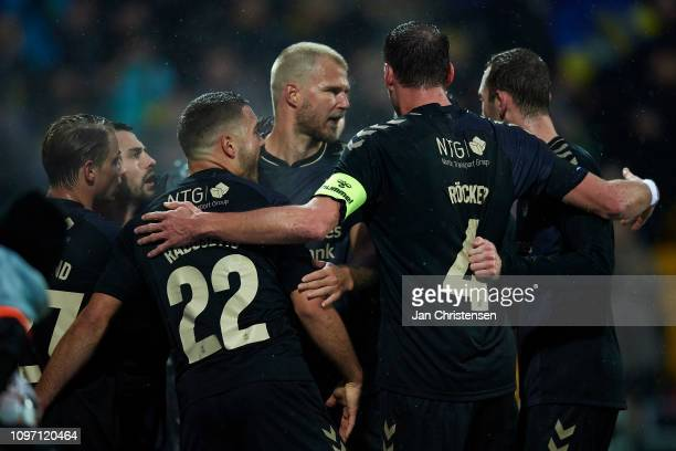 The players of Brondby IF celebrate the 11 goal from Besar Halimi during the Danish Superliga match between FC Nordsjalland and Brondby IF at Right...
