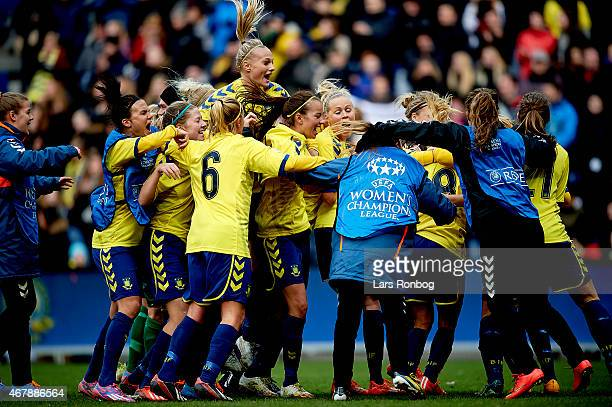 The players of Brondby IF celebrate their victory after the UEFA Womens Champions League quarterfinal match between Brondby IF and Linkopings FC at...