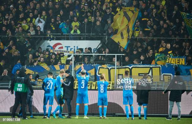 The players of Brondby IF celebrate with the fans after the Danish Alka Superliga match between AaB Aalborg and Brondby IF at Aalborg Portland Park...
