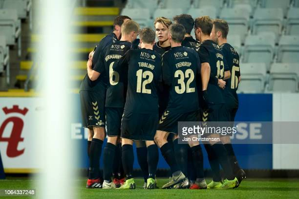The players of Brondby IF celebrating after the 01 goal from Besar Halimi during the Danish Cup Sydbank Pokalen match between BK Marienlyst and...