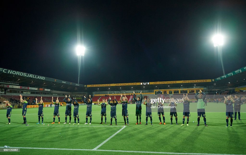 The players of Brondby IF celebrating after the Danish Alka Superliga match between FC Nordsjalland and Brondby IF at Right to Dream Park on April 22, 2018 in Farum, Denmark.