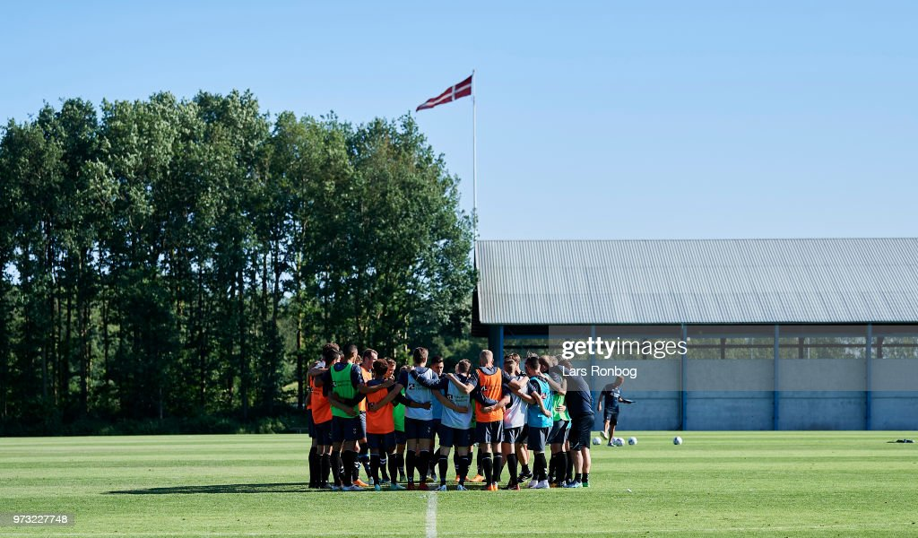 The players of Brondby IF huddle during the Brondby IF training session at Brondby Stadion on June 13, 2018 in Brondby, Denmark.