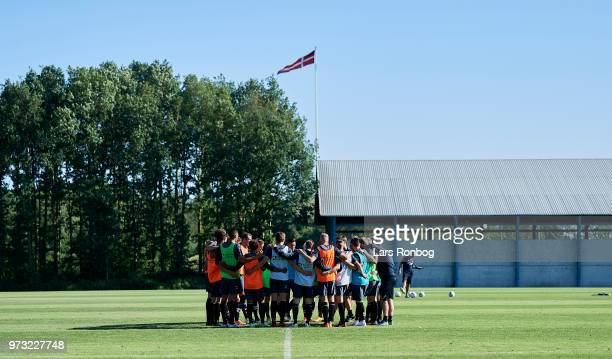 The players of Brondby IF huddle during the Brondby IF training session at Brondby Stadion on June 13 2018 in Brondby Denmark