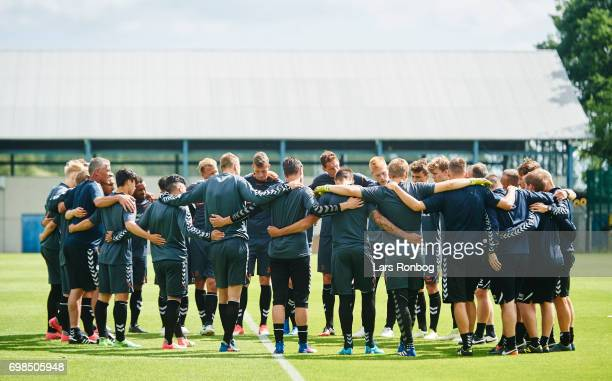 The players of Brondby IF huddle prior to the Brondby IF training session at Brondby Stadion on June 20 2017 in Brondby Denmark
